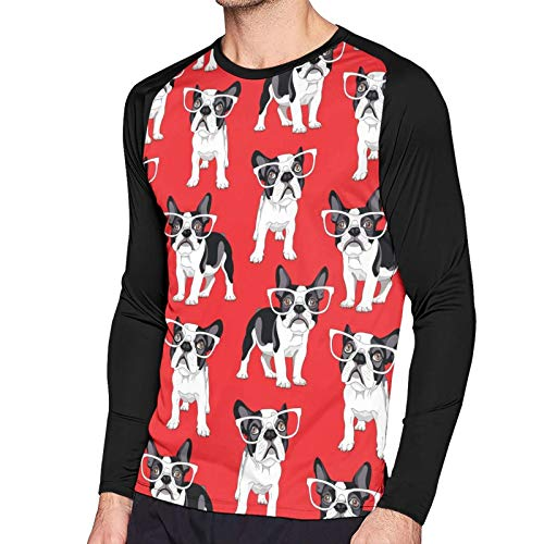 Men's T-Shirt Cartoon French Bulldog in A Glasses Red Long Sleeve Tee Soft Men's Long Sleeve T