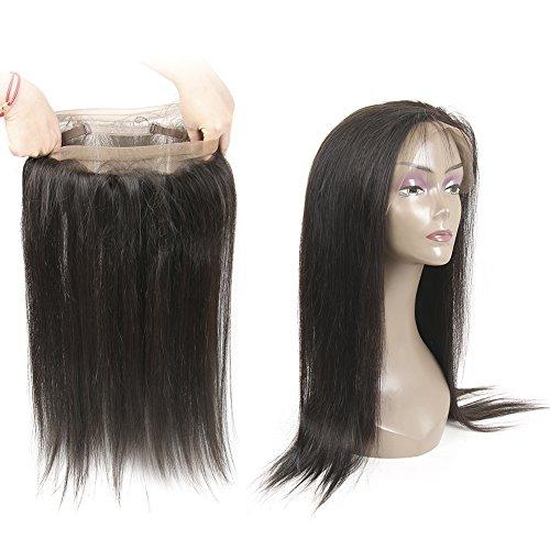 HmtAfro Extensions de cheveux brésiliens raides Filet à 360° avec fermeture frontal Couleur naturelle