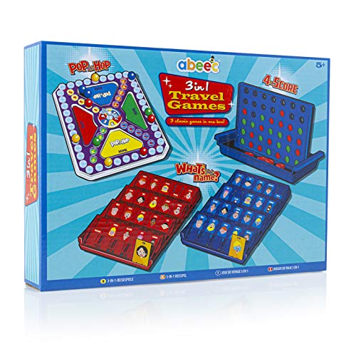 abeec 3 in 1 Travel Games – 3 Classic Games in 1 Box: Pop and Hop, 4 to...