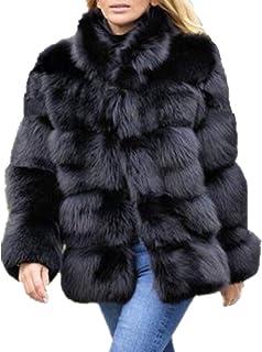 Lisa Colly Women Winter Furs Coat Jacket Luxury Faux Fox Fur Coat Slim Long Sleeve Collar Coat Faux Fur Coat Overcoat (M, Black)