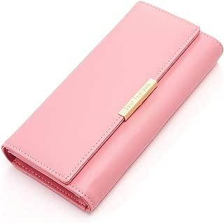 Cyanb Soft Leather Trifold Multi Card Holder Wallet, Elegant Clutch Long Purse for Women Ladies