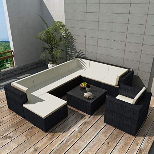Namotu vidaXL 9-TLG. Conjunto de salón de jardín con Cojines de poliratán, Color Negro.