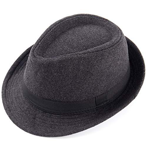 Coucoland Panama Hut Mafia Gangster Herren Fedora Trilby Bogart Hut Herren 1920s Gatsby Kostüm Accessoires (Filz/Dunkelgrau)