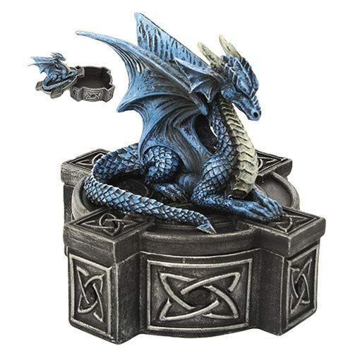 Pacific Giftware Anne Stokes Altar Drake Frost Blue Mystic Dragon Statue Celtic Cross Lidded Box