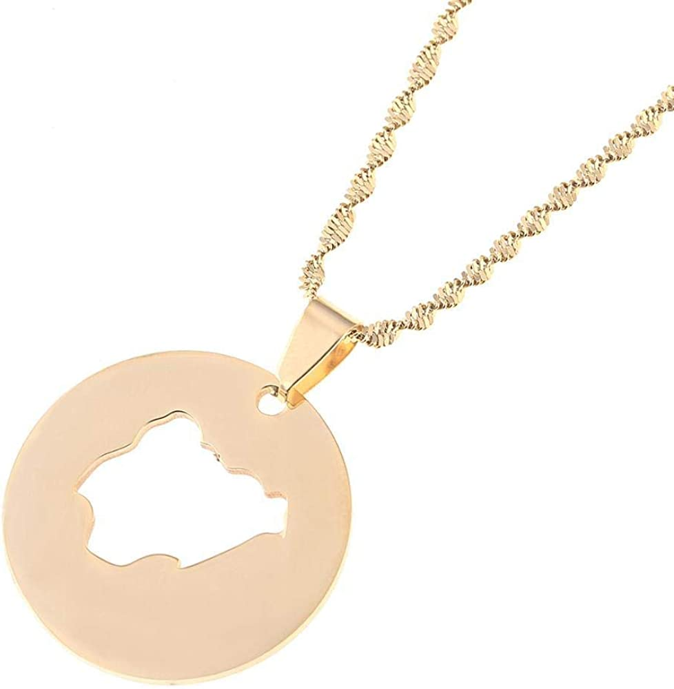 Stainless Steel Round Nigeria Map Pendant Necklaces Country Maps Africa Nigerians Maps Charm Jewelry