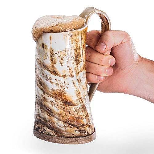 Loop Cuerno para Beber la Taza de Cerveza Jarra de Cerveza con Base de Madera - Genuino Artesanal Vikings Original Cuerno Taza de la Taza de Mead, ale y Cerveza - (Acabado Natural, 750 ml | 25 oz)