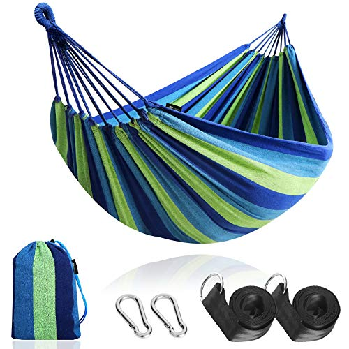 Anyoo Outdoor Cotton Fabric Hammock, Comfortable Portable Camping Hammock with Tree Straps and Carrying Bag, Perfect for Patio Balcony Yard Garden, Load Capacity Up to 450 Lbs