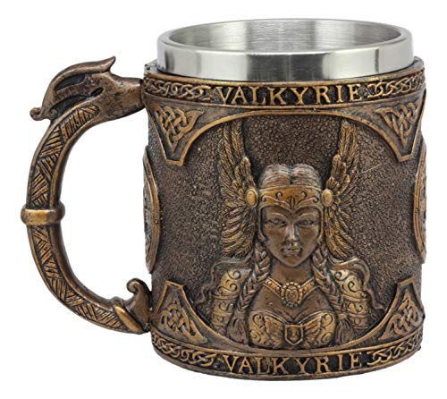 Ebros Gift Norse Mythology Viking Goddess Valkyrie Coffee Mug 13oz Resin Drink Cup Tankard Beer Stein With Stainless Steel Liner For Kitchen Home Decor Medieval Renaissance Party Hosting Accessory