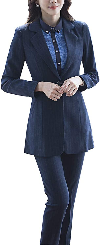 LISUEYNE Women Blazers Work Office Lady Suit Slim Stripe Single Button Blazers Jacket and Pants