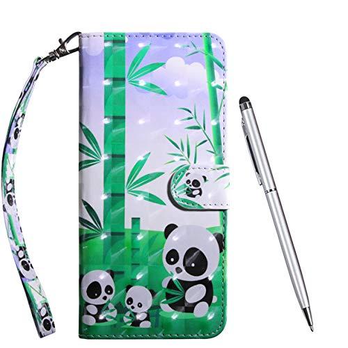 TOUCASA Hülle Kompatibel mit LG V50 ThinQ, Handyhülle Brieftasche PU Leder Flip [3D] Hülle Magnetverschluss Handytasche Klapphülle Tasche Lederhülle Schutzhülle (Panda)
