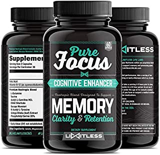 Brain Supplement - Pure Focus Nootropics, Memory, Clarity, and Retention Booster Pills, Max Strength Formula with Ginkgo Biloba and Bacopa by Limitless
