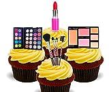 Decoraciones de tarta comestibles con diseño de maquillaje y cosméticos, 12 unidades