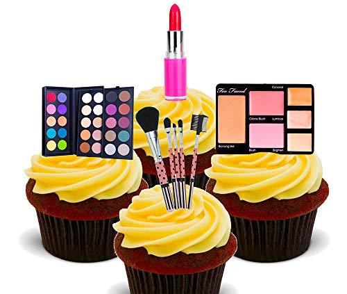 Essbare Kuchendekorationen: Make-up, Kosmetik, stehendes Esspapier als Cupcake-Dekoration, 12er-Pack