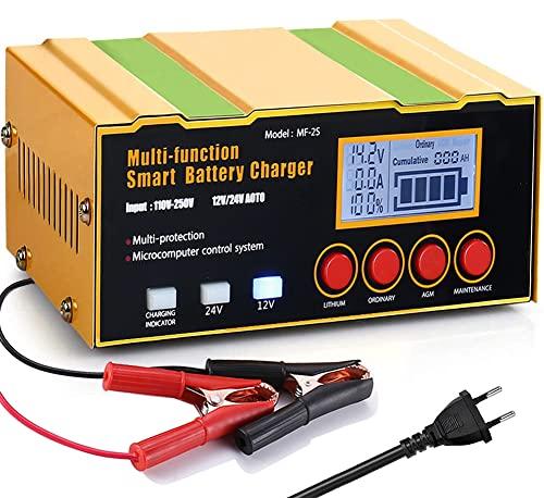12A Ladegerät Autobatterie, 12V/24V KFZ Batterieladegerät Vollautomatisches Intelligentes Erhaltungsladegerät Geeignet für Lithiumbatterien, AGM / Blei-Säure-Batterien
