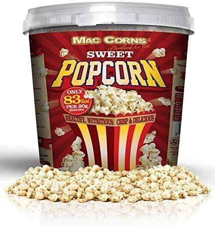 MacCorns Sweet Popcorn ~ 600g ~ 10ltr Mega Bucket ~ Traditionally Popped, Allergen Free, Ready Made Popcorn