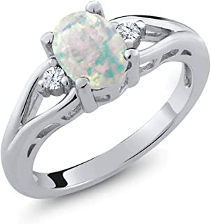 Gem Stone King 925 Sterling Silver White Simulated Opal and White Created Sapphire 3 Stone women's Ring (1.13 Ct,Available 5,6,7,8,9)