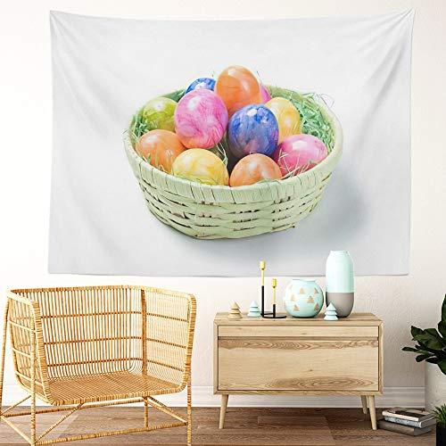 Y·JIANG Tapiz de cesta de Pascua, huevos de Pascua en canasta, colorido tapiz decorativo grande para el hogar, manta ancha para colgar en la pared para sala de estar, dormitorio, 80 x 60 pulgadas