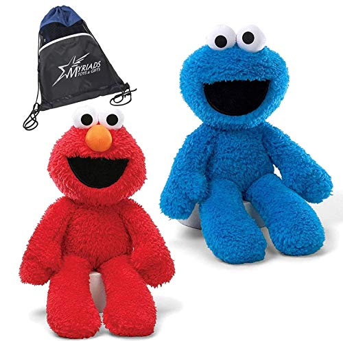 "GUND Sesame Street Take Along Elmo and Cookie Monster Stuffed Animal 12"" Plush with Drawstring Bag"