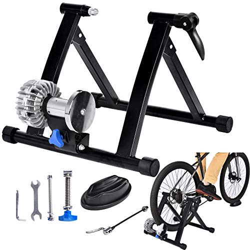 Bike Trainer Stand Fluid,Liquid Resistance Trainers Steel Quiet Infinitely Adjustable Resistance Bicycle Exercise Stand with Front Wheel Riser Block for Indoor Cycling Racing Training