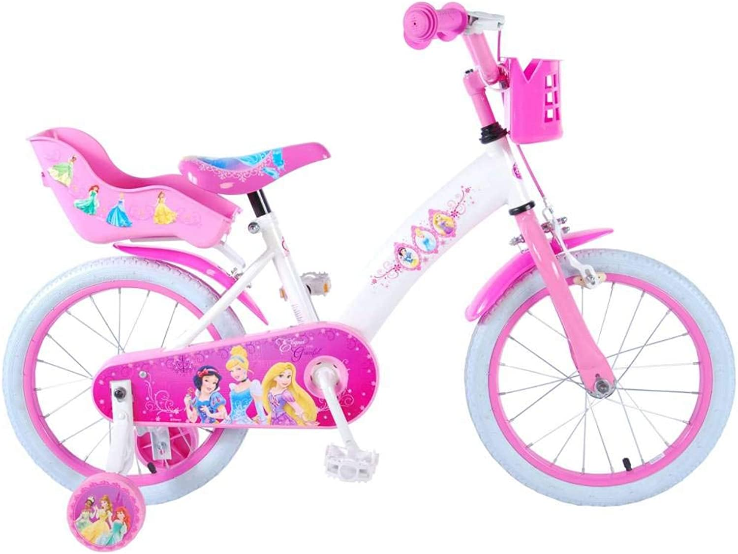 Disney Girl Bike Princess 16 Inch Front Brake and Rear Brake on Handlebar Basket and Doll Carrier White Pink 85% Assembled