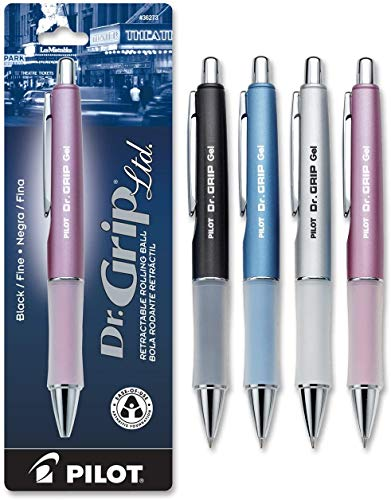 PILOT Dr. Grip Limited Refillable & Retractable Gel Ink Rolling Ball Pen, Fine Point, Assorted Barrel, Black Ink, Single Pen (36274).1Pack