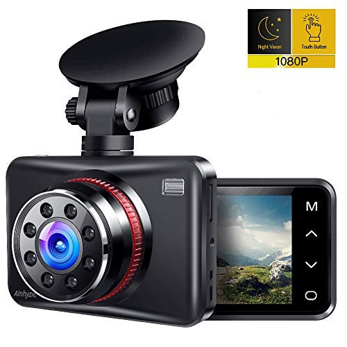 Ainhyzic Dash Cam 1080P Full HD Dash Camera for Cars Touch Button Screen Driving Recorder with 170° Wide Angle and Infrared Night Vision, Motion Detection, G Sensor, Loop Recording, Parking Monitor