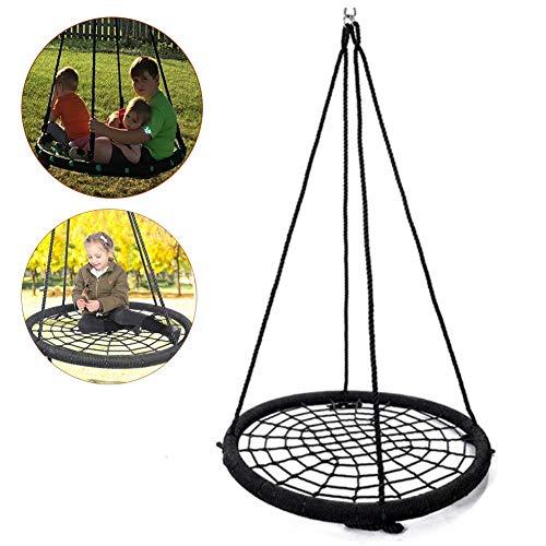 Balançoires YXX Nid D'oiseau Jardin Réglable Rondes en Toile d'araignée pour 3 Enfants, Chaises de pour hamac de Jardin extérieur avec capacité de 440 LB et 2 Cordes
