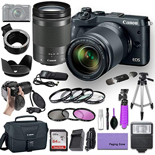 Canon EOS M6 Mirrorless Camera (Black) with Canon 18-150mm f/3.5-6.3 is STM Lens and EF/EF-M Mount Adapter Bundled with Deluxe Accessories (Canon Case, High Speed Flash, Filter Kits and More.)