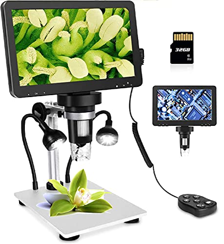 LCD Digital USB Microscope 7 in HD Screen 32 G TF Card, Circuit Board Repair Soldering PCB Coins,12mp Video Camera Microscope,8 Adjustable Light, 1-1200X Magnification with Rechargeable Battery。