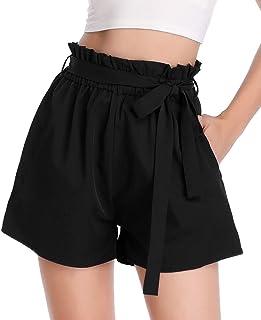 PEIQI Womens High Waisted Shorts Elastic Waist Summer Beach Short with Pockets Belt Small Black