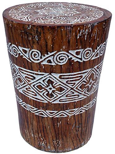 Guru-Shop Taburete Decorado con Tronco de Madera de Coco, Maderadecoco, 40x30x30 cm, Muebles Para Sentarse