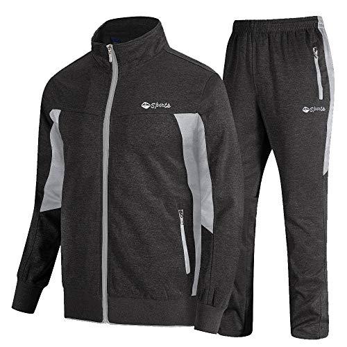 donhobo Chándal para hombre, incluye sudadera con capucha y pantalón, cálido, para fútbol, jogging, deporte, gimnasio, gris oscuro., XXL