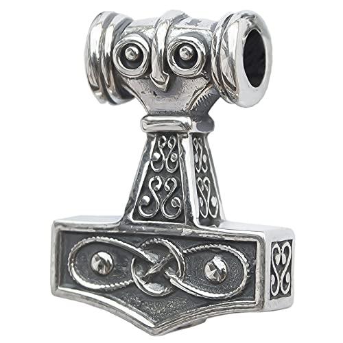 Viking Thors Hammer Mjolnir Necklace-Solid 925 Sterling Silver-Celtic Pendant Nordic Amulet Odins Norse Mythology Jewelry for Men Women-Handmade-Medium Size