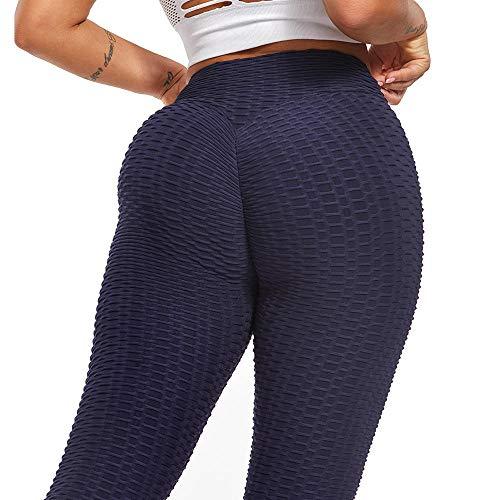 ZJXSNEH Mujer Deportivos Leggings Pantalones Elastico para Yoga Azul Marino