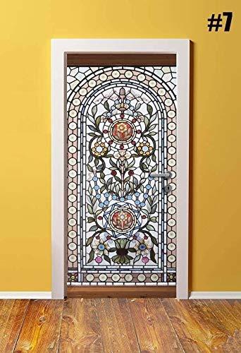 Tür-Aufkleber Home Decor PVC wasserdichte 3D-Druck-Aufkleber Umwelt Klassische Muster Schutz Aufkleber Selbstklebendes Kunstdruckpapier Aufkleber (Color : 7, Sticker Size : 95x215cm)