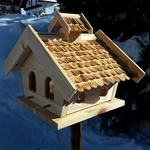 Vogelhaus-XXL mit Holzschindeln und Putzklappe lasiert Vogelhäuser-Vogelfutterhaus großes Vogelhäuschen-aus Holz Wetterschutz (Natur)
