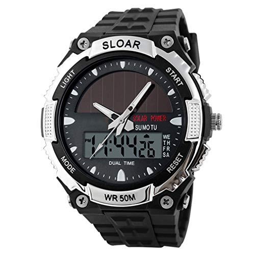 JIEGEGE Sportuhr, Uhr Männlich Digital Armbanduhren Solar Power 12/24 Stunden Wasserdicht Herrenuhr, Wasserdicht, Neuheit Design, Mode Zeigen