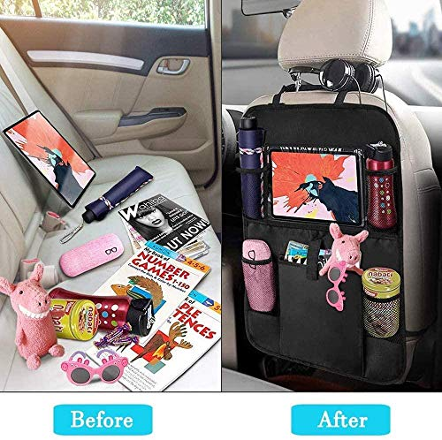 'N/A' 2 pcs rear seat car storage bag kick pad rear seat protection bag car seat storage bag tray bag laptop holder tray, suitable for most -24x16/61x41cm
