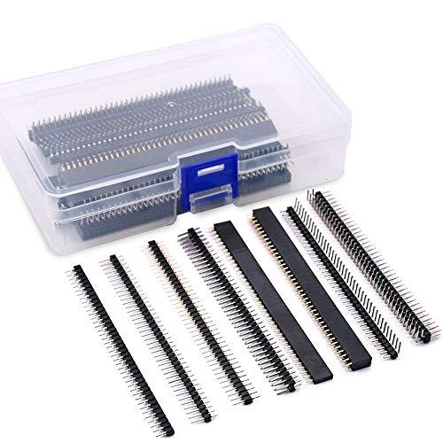 Gaoominy - Juego de 40 conectores de encabezado macho y hembra para prototipos de placa PCB de 2,54 mm, 40 pines