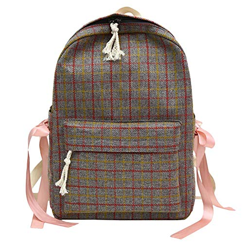 Backpack Bag Women Sen Literary Retro Casual Style Plaid Bag Female Small Fresh Plaid Bow Canvas Material Zipper Student Backpack 15Inches B
