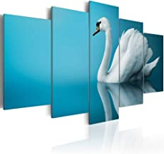 """Everlands Art White Swan Print Painting on Canvas Blue Lake Wall Picture Modern Picture Decor for Bedroom Framed Ready to Hang 5 Piece Artwork (Large Size W60"""" x H30"""")"""