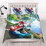 Super Mario Kart Nintendo - Funda de edredón Doble, diseño de Gravedad Reversible de Dos Caras con Funda de Almohada a Juego, Multicolor