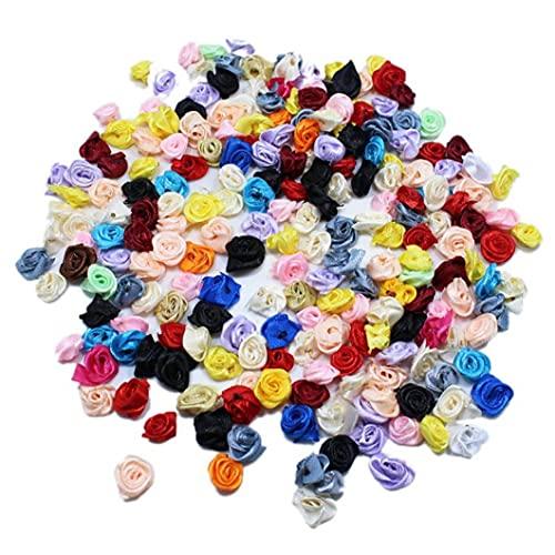 Berrywho Falsos Jefes de Rosa Artificial Tela Decorativa Cabezas de Las Flores Coloridas Artes de DIY 100PCS