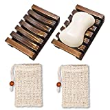 CHARLLEAN 2 Stück Seifendose, Holz Seifenschalen Box, Seifenschale Holz Dusche mit 2 Stück...