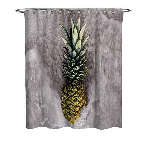 WFLJ Aquarel ananas print badkamer gordijn voor Home Decor, waterdicht en meeldauw gemakkelijk te plaatsen stof douchegordijn voor bad bad bad en douchecabine, met 12 stuks haken