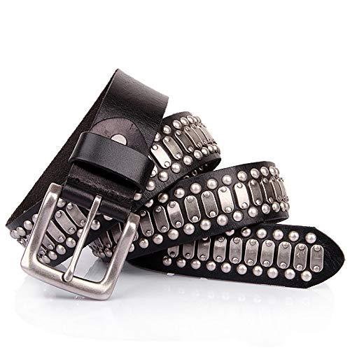 Cinturón de Doble Ojal Remache Diseño unisex correa de cuero Hombres Mujeres jóvenes Cinturones gótica hecha a mano con tachuelas de Steampunk del punk rock de la pretina de Blet Cinturón Punk de Cuer