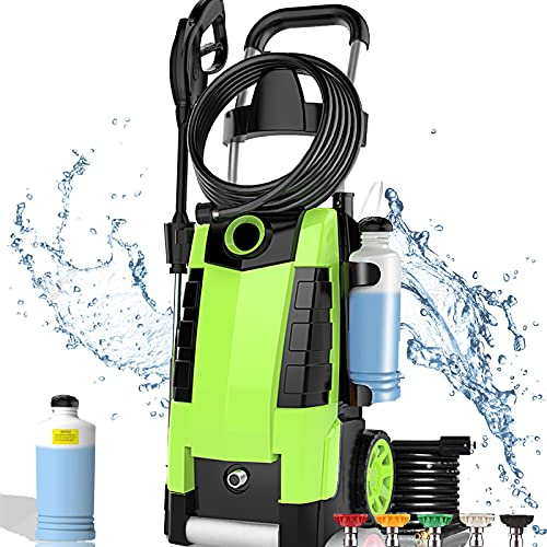 TEANDE 3800PSI Electric Pressure Washer 2.8GPM 1800W High Power Cleaner with 1 L Large Soap Bottle, 20 Ft Pressure Hose & 33 Ft Cord with GFCI (Green)