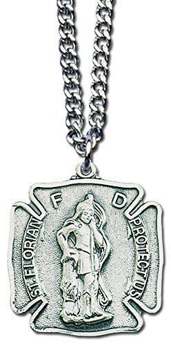 HJ Sherman St Florian Firefighters Service Necklace Badge Shaped with Holy Prayer Card