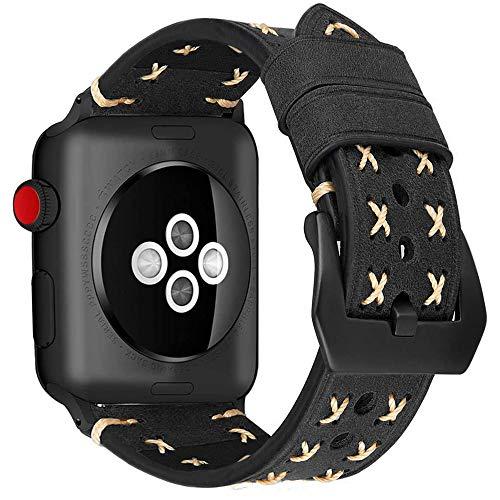 MroTech Correa Watch 38mm Serie 3 Serie 2 Serie 1 Piel Genuino, Correa Cuero Watch 40mm Serie 4, Repuesto de Pulsera para Watch Sport Edition Nike+ Banda de Reloj de Cuero (38 mm/40 mm, Vintage-Nero)