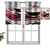 Hiiiman Cortinas cortas con ojales en la parte superior, elegantes paneles recién hechos, set de 1, 91,4 x 45,7 cm, decoración para baño/dormitorio/sala de estar